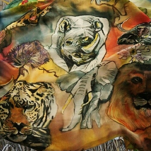 Africas big 5 silk scarf